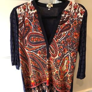 Anthropology mixed material blouse || XS